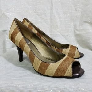 Bandolino Brown Calf Hair Peep Toe Pumps SZ 8.5
